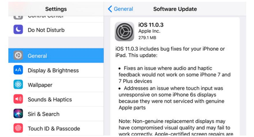 update Apple iOS