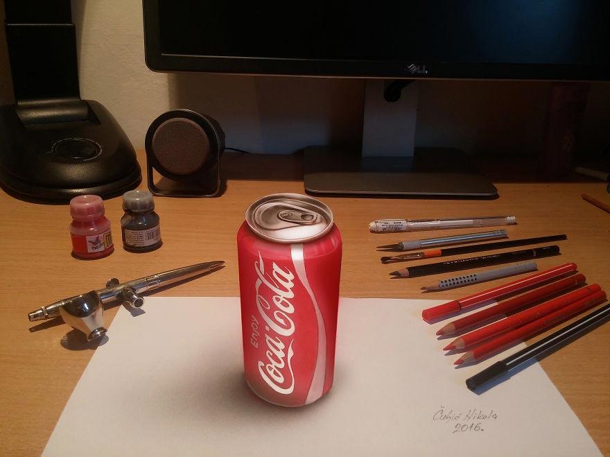 Крутые реалистичные 3D рисунки Кока-кола
