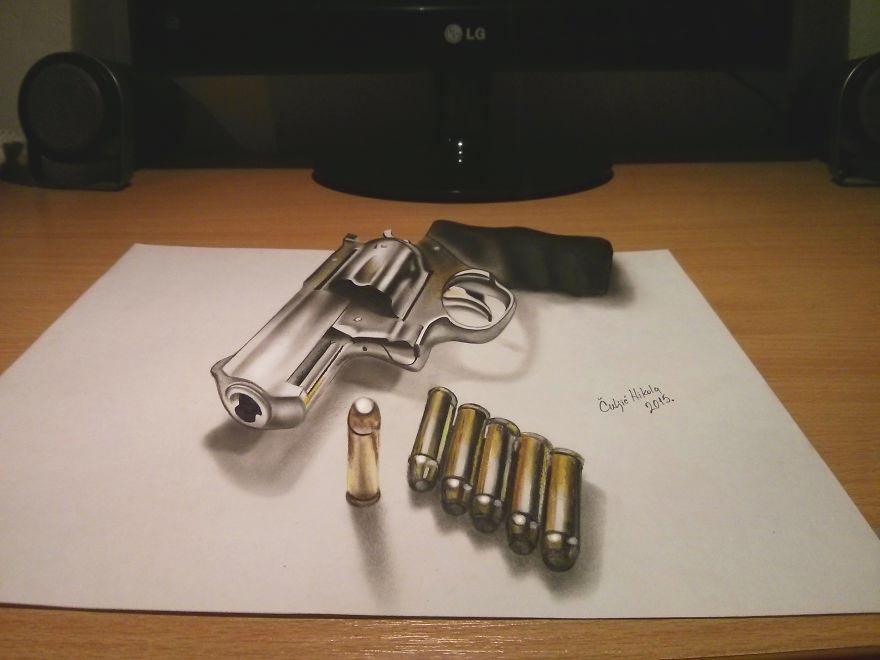 Крутые реалистичные 3D рисунки Револьвер Магнум