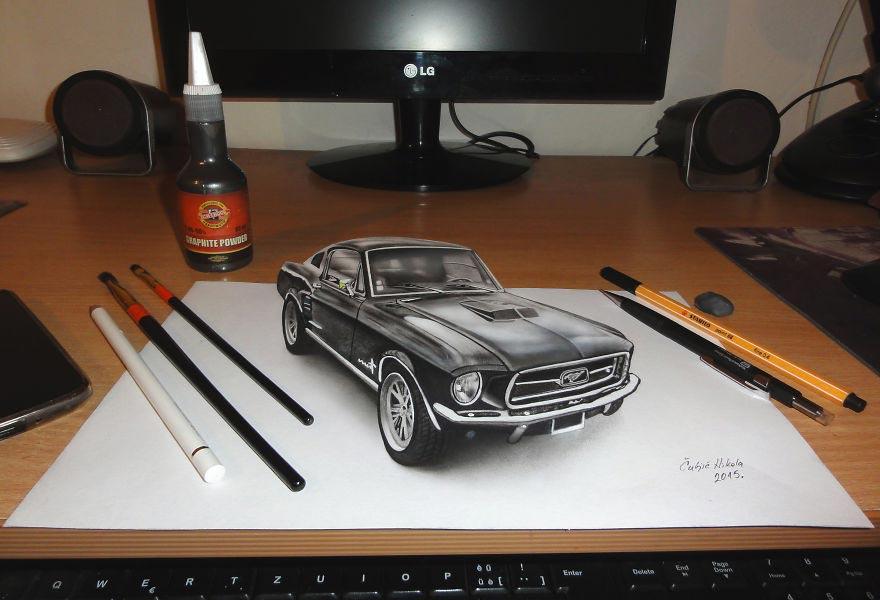 Крутые реалистичные 3D рисунки Форд Мустанг