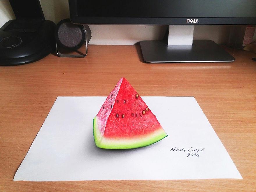 Крутые реалистичные 3D рисунки Ломтик арбуза