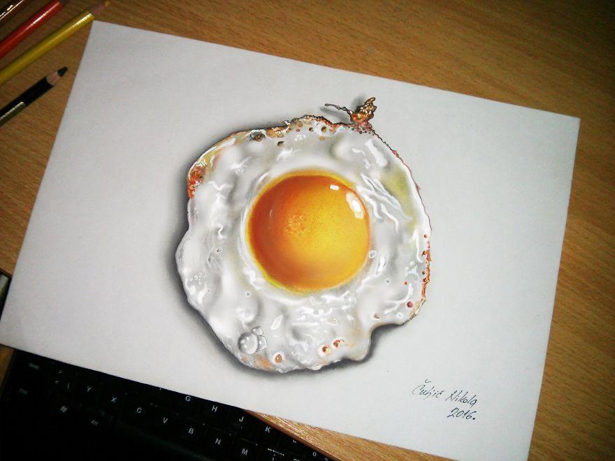 Крутые реалистичные 3D рисунки Яичница
