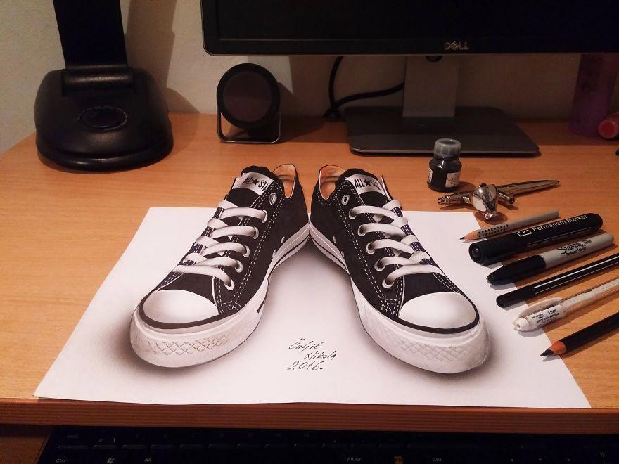 Крутые реалистичные 3D рисунки Кеды Конверс