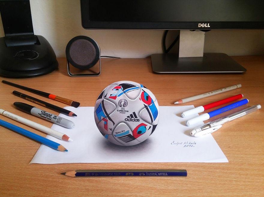 Крутые реалистичные 3D рисунки Футбольный мяч