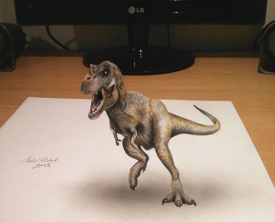 Крутые реалистичные 3D рисунки Тираннозавр Рекс