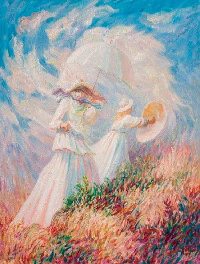 Олег Шупляк картины на которых есть еще кто-то Ветреный день Клод Моне