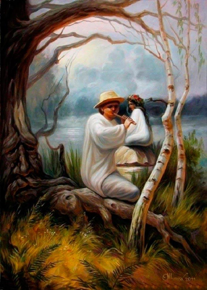 Олег Шупляк картины на которых есть еще кто-то Лесная песня