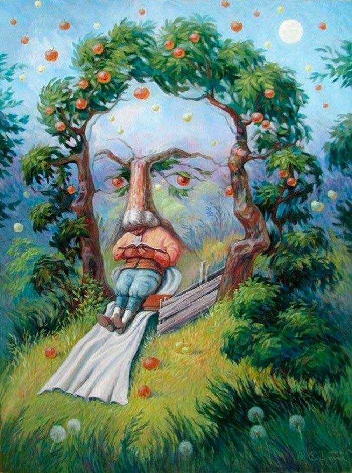Олег Шупляк картины на которых есть еще кто-то Ньютон в саду идей