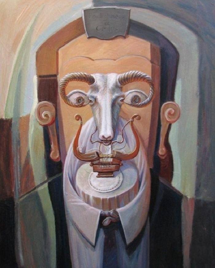 Олег Шупляк картины на которых есть еще кто-то Глупость и гениальность