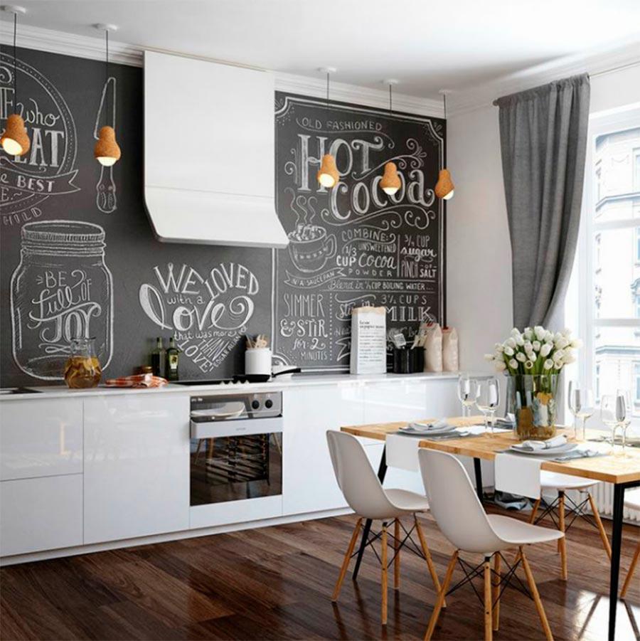 идеи дизайна кухни Грифельная стена slate wall