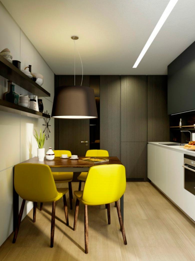 идеи дизайна кухни Желтые акценты yellow accents
