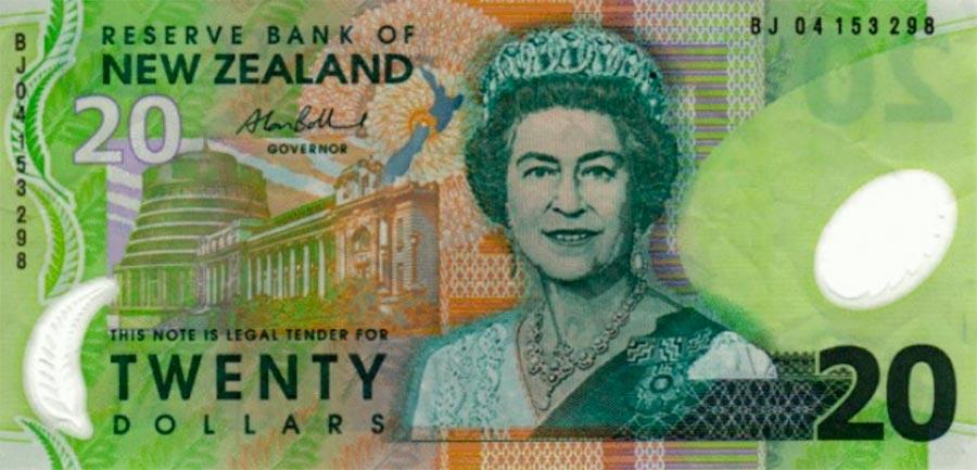 Возрастные изменения Елизаветы II на банкнотах changes on the banknotes Elizabeth 20 новозеландских долларов