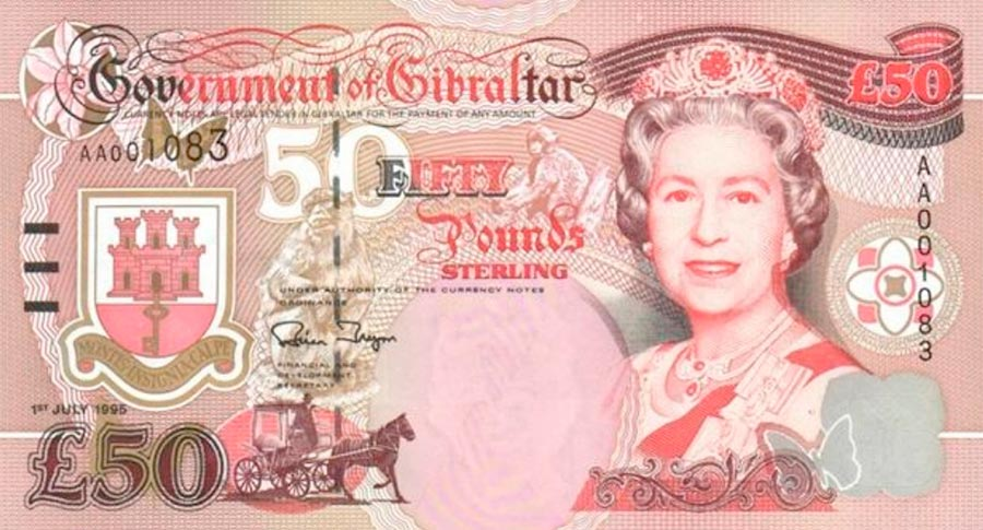 Возрастные изменения Елизаветы II на банкнотах changes on the banknotes Elizabeth 50 гибралтарских фунтов
