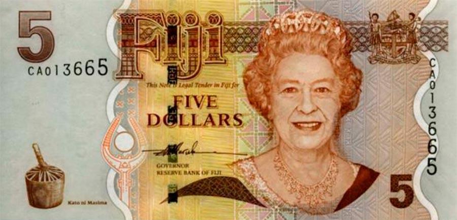 Возрастные изменения Елизаветы II на банкнотах changes on the banknotes Elizabeth 5 долларов Фиджи