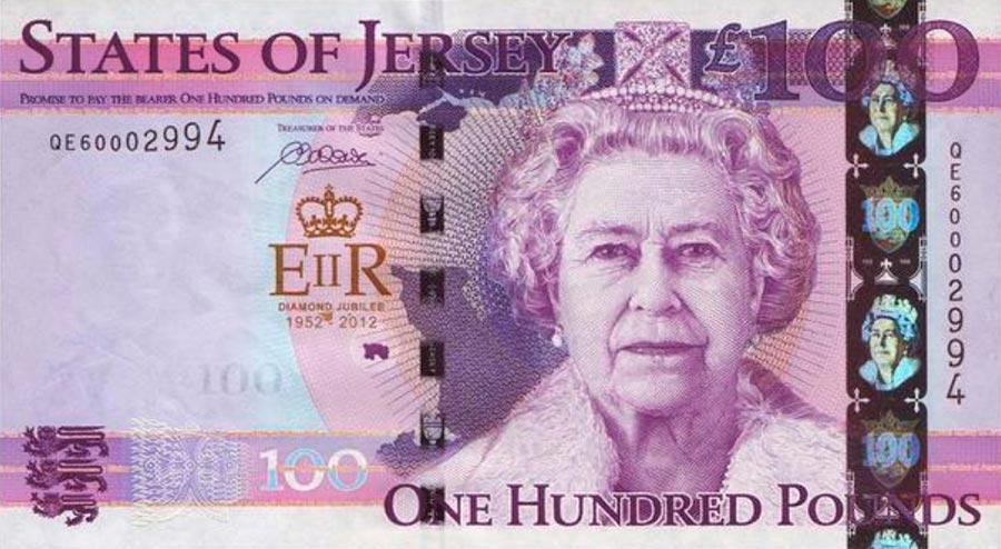 Возрастные изменения Елизаветы II на банкнотах changes on the banknotes Elizabeth 100 джерсийских фунтов