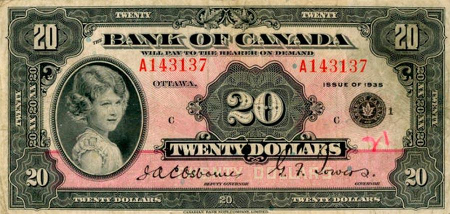 Возрастные изменения Елизаветы II на банкнотах changes on the banknotes Elizabeth 20 канадских долларов