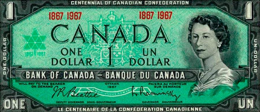 Возрастные изменения Елизаветы II на банкнотах changes on the banknotes Elizabeth 1 канадский доллар