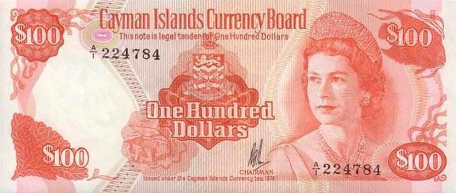 Возрастные изменения Елизаветы II на банкнотах changes on the banknotes Elizabeth 100 долларов Каймановых Островов