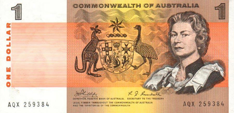 Возрастные изменения Елизаветы II на банкнотах changes on the banknotes Elizabeth 1 австралийский доллар