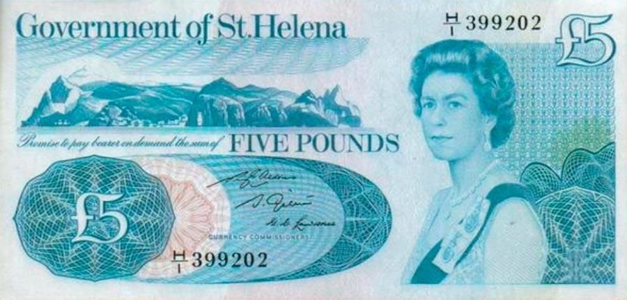 Возрастные изменения Елизаветы II на банкнотах changes on the banknotes Elizabeth 5 фунтов Святой Елены