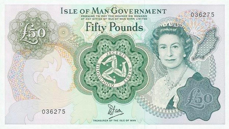 Возрастные изменения Елизаветы II на банкнотах changes on the banknotes Elizabeth 50 фунтов Острова Мэн
