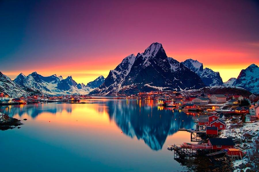 пейзажи Норвегия landscapes Norway Полуночное солнце