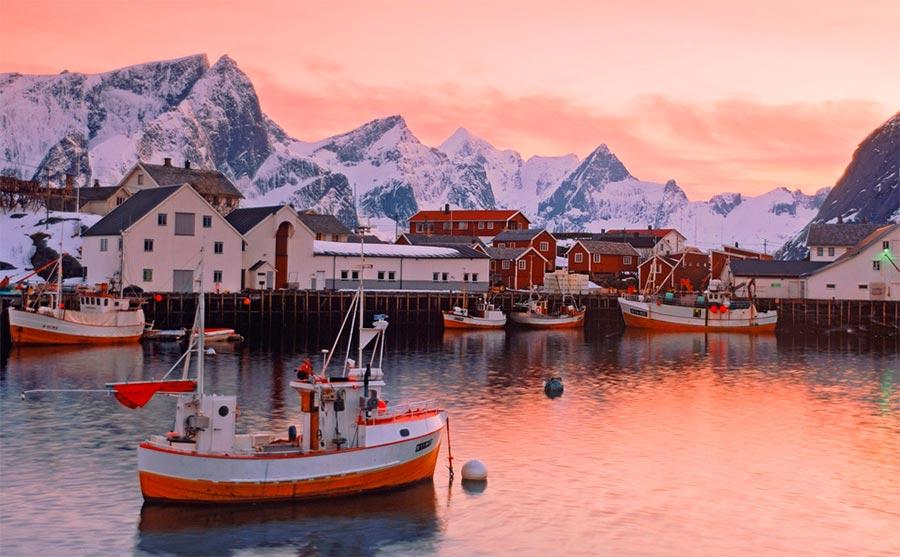 пейзажи Норвегия landscapes Norway Рыбацкая деревушка