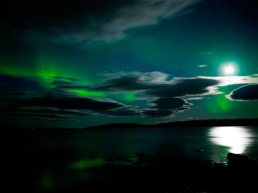 пейзажи Норвегия landscapes Norway Северное сияние Aurora Borealis отражение Луны
