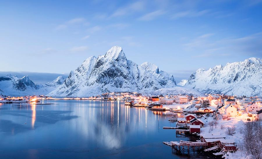 пейзажи Норвегия landscapes Norway Деревня Reine
