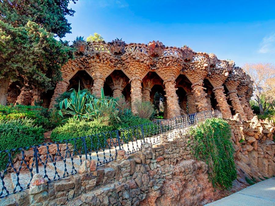 городской парк city park Парк Гуэль Барселона Испания Park Guell Barcelona Spain