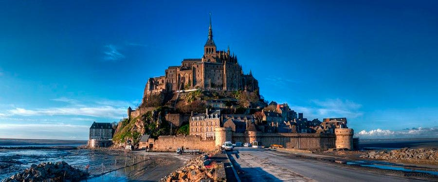 места на Земле Крепость Мон-Сен-Мишель Франция France