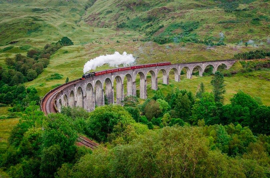 места на Земле Виадук Гленфиннан Шотландия Scotland