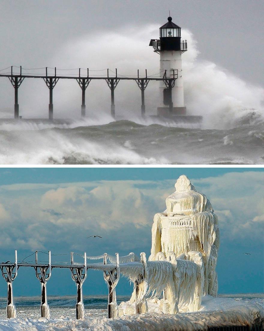 Зима против лета winter against summer Маяк Святого Иосифа штат Мичиган США Michigan USA