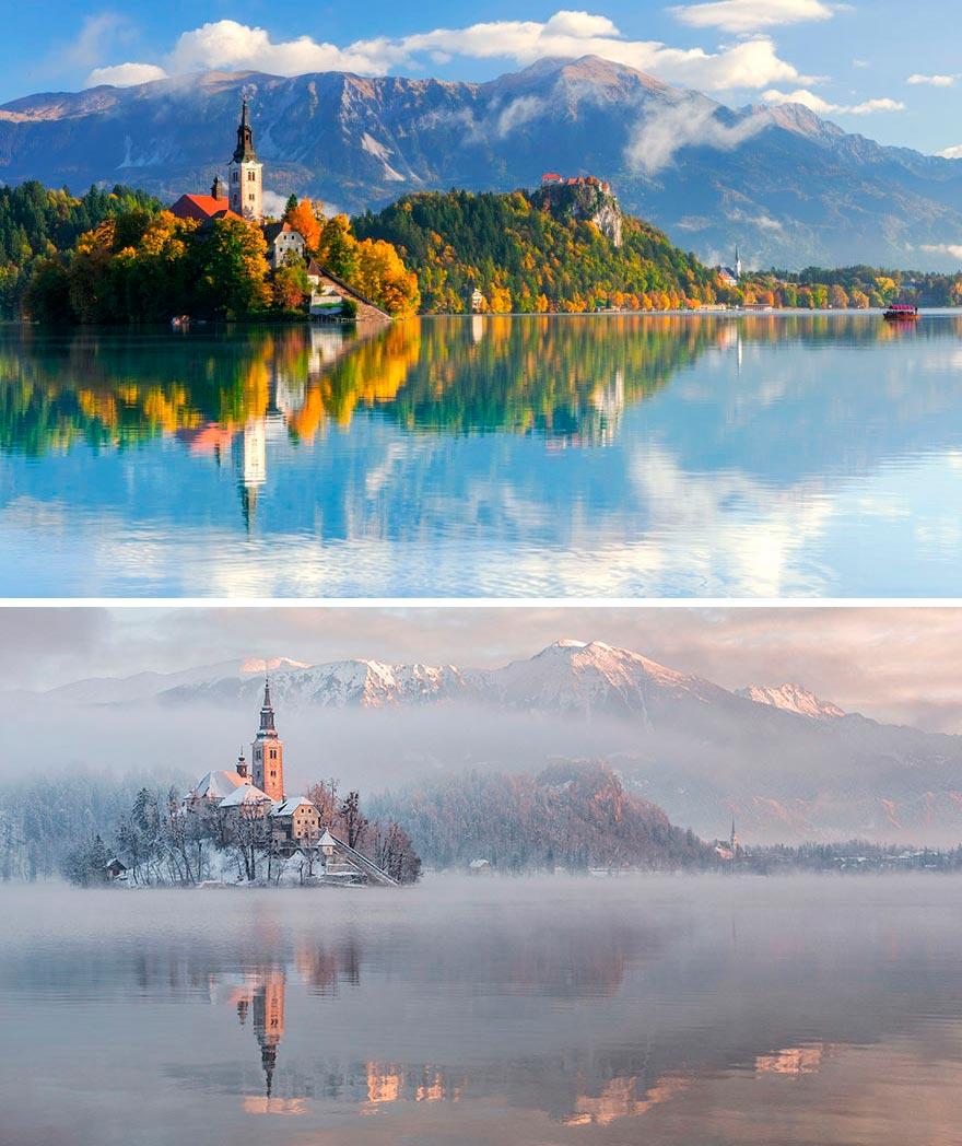 Зима против лета winter against summer Озеро Блед Словения Slovenia