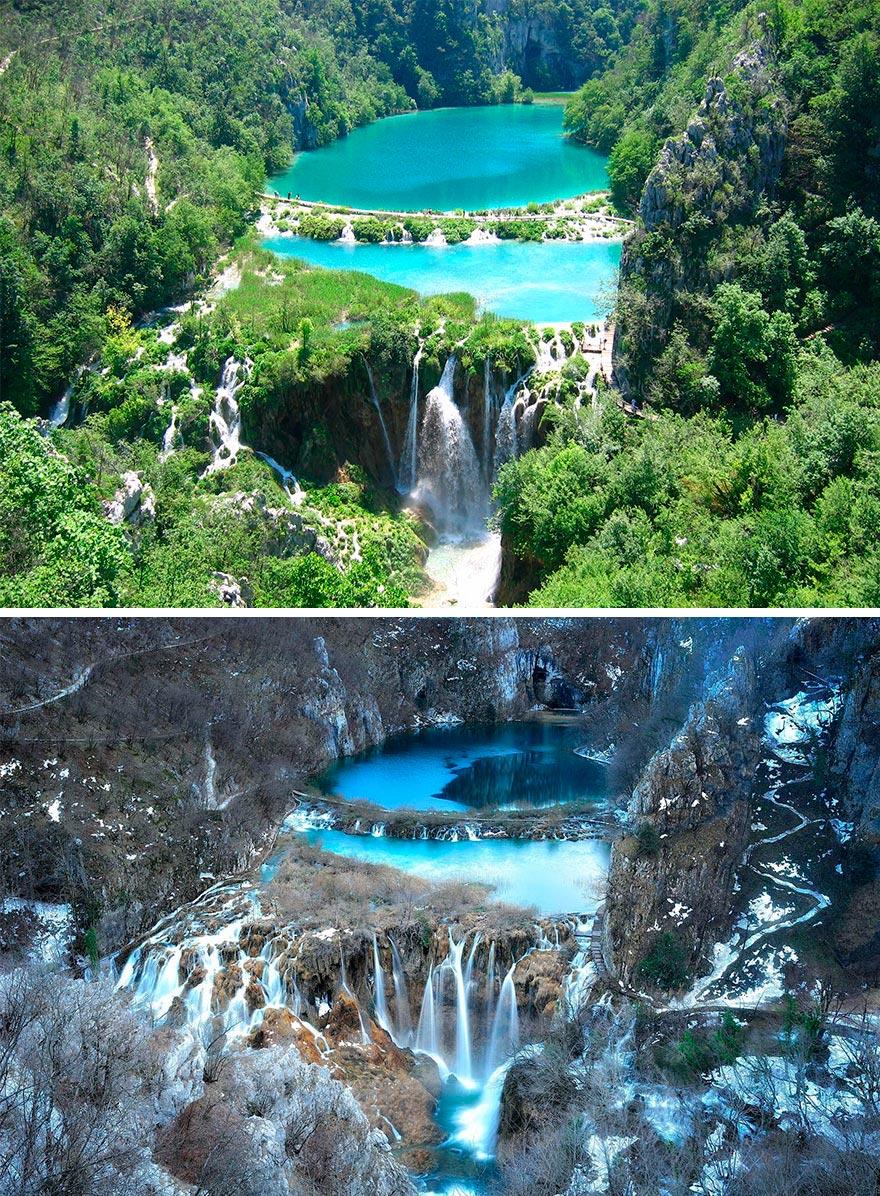 Зима против лета winter against summer Национальный парк Плитвицкие озера Хорватия Croatia
