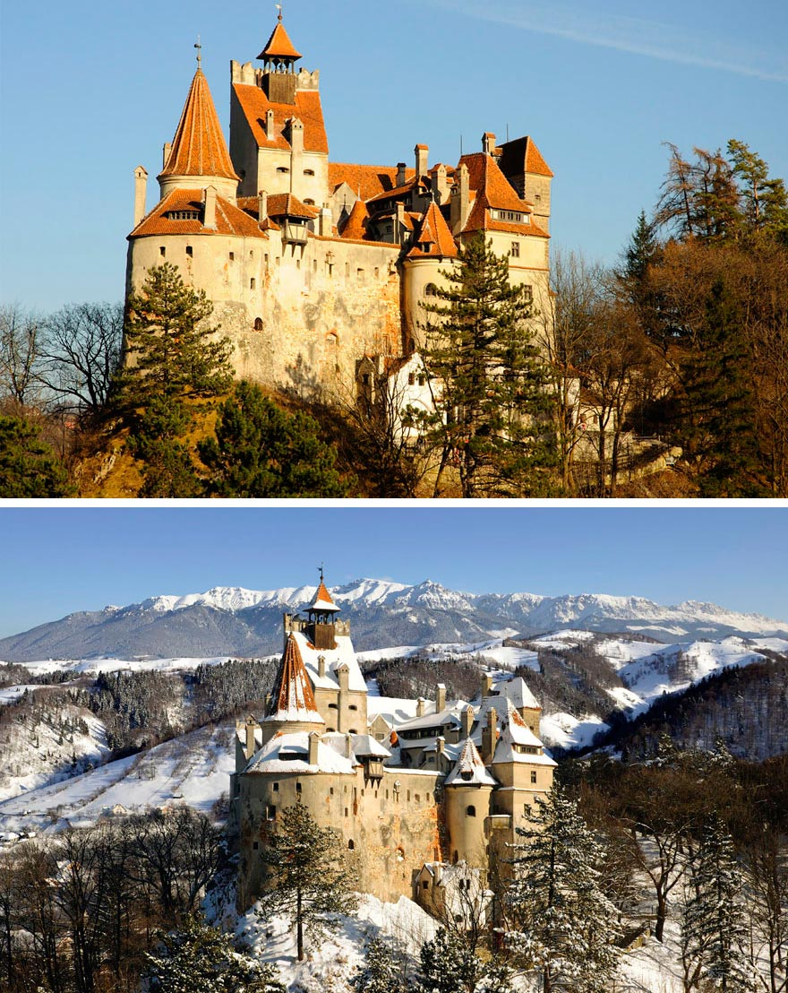 Зима против лета winter against summer Замок Бран Румыния Romania