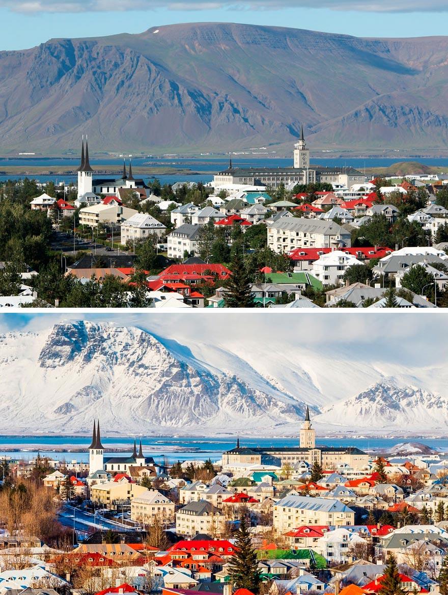 Зима против лета winter against summer Рейкьявик Исландия Iceland