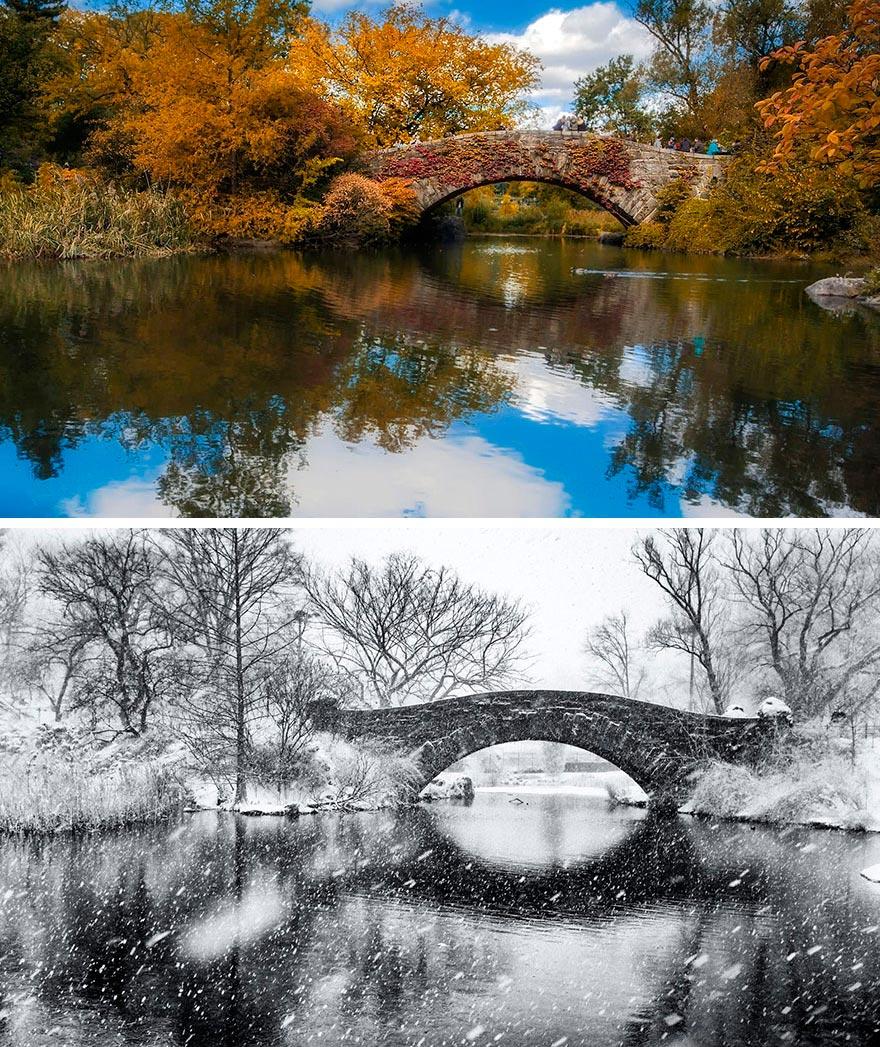 Зима против лета winter against summer Центральный парк Нью-Йорк США New-York USA