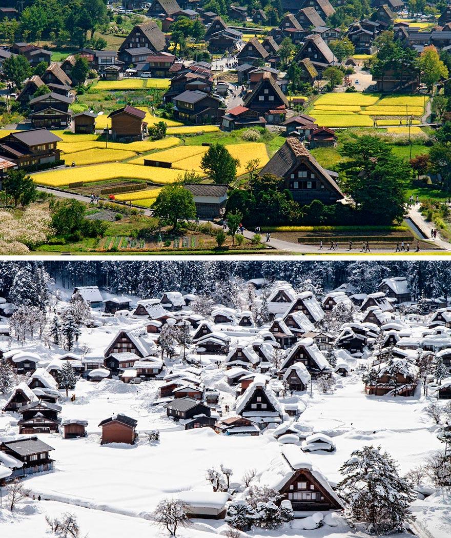Зима против лета winter against summer Историческое село Сиракава-го Япония Japan