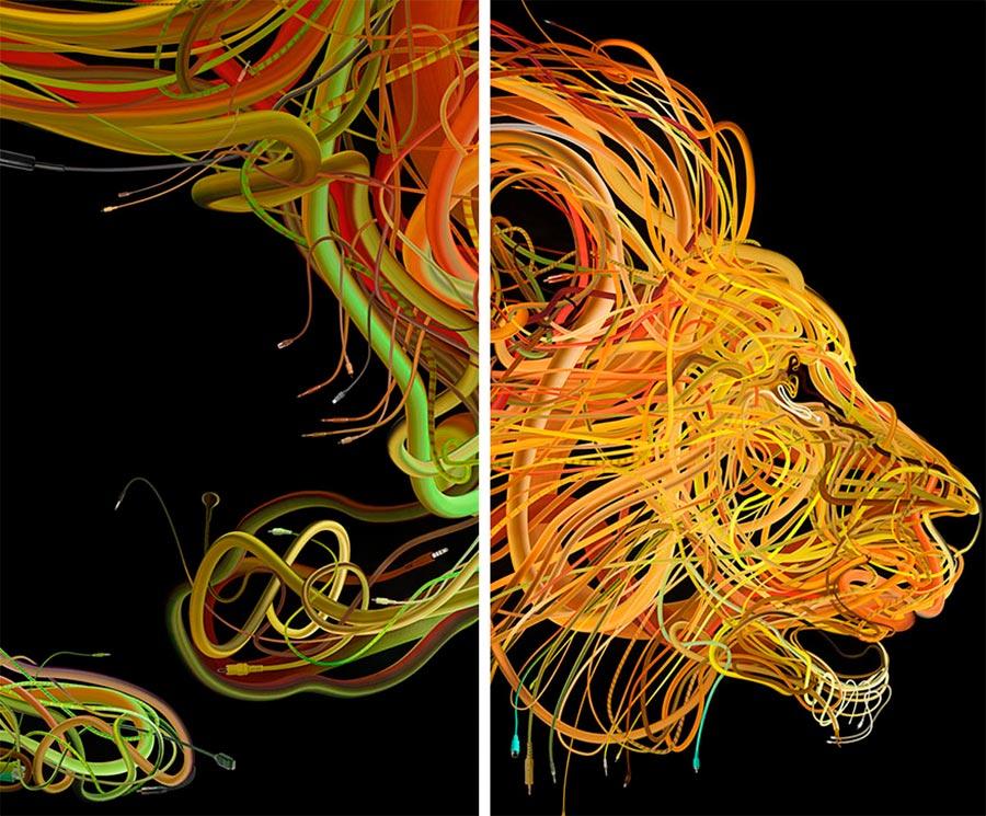 Charis Tsevis иллюстрации животных из проводов