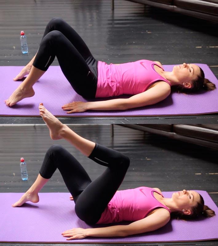 Пилатес для начинающих: комплекс упражнений Pilates for beginners: a set of exercises подъем ног лежа на спине leg raises lying on your back
