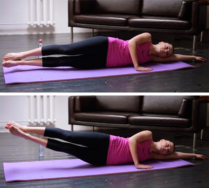 Пилатес для начинающих: комплекс упражнений Pilates for beginners: a set of exercises подъем ног лежа на боку leg lifts lying on your side