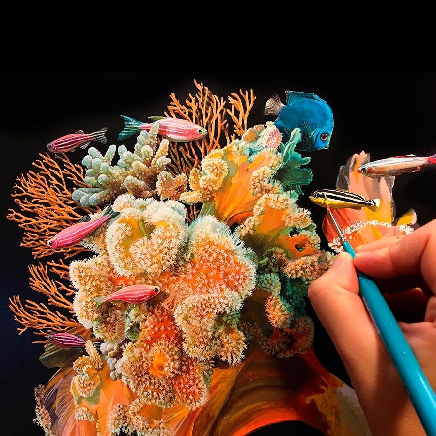 Лиза Эриксон Lisa Ericson Гиперреалистичные картины с рыбками