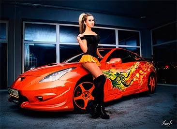Опять таинственная фотосессия прекрасной девушки, но только.... Toyota Celica