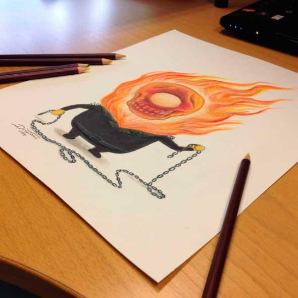 карандашные рисунки Дино Томича pencil drawings Dino Tomic Миньон Призрачный Гонщик