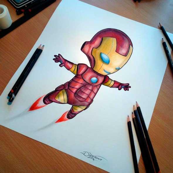 карандашные рисунки Дино Томича pencil drawings Dino Tomic Маленький Железный Человек