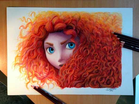 карандашные рисунки Дино Томича pencil drawings Dino Tomic Принцесса Мерида