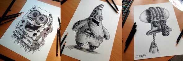 карандашные рисунки Дино Томича pencil drawings Dino Tomic Губка Боб и компания