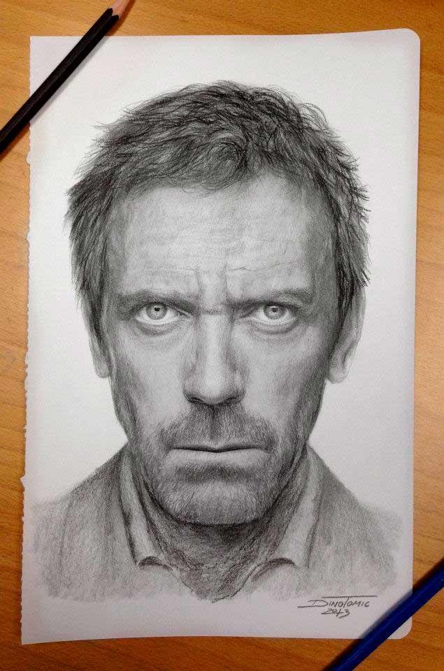 карандашные рисунки Дино Томича pencil drawings Dino Tomic Доктор Хаус
