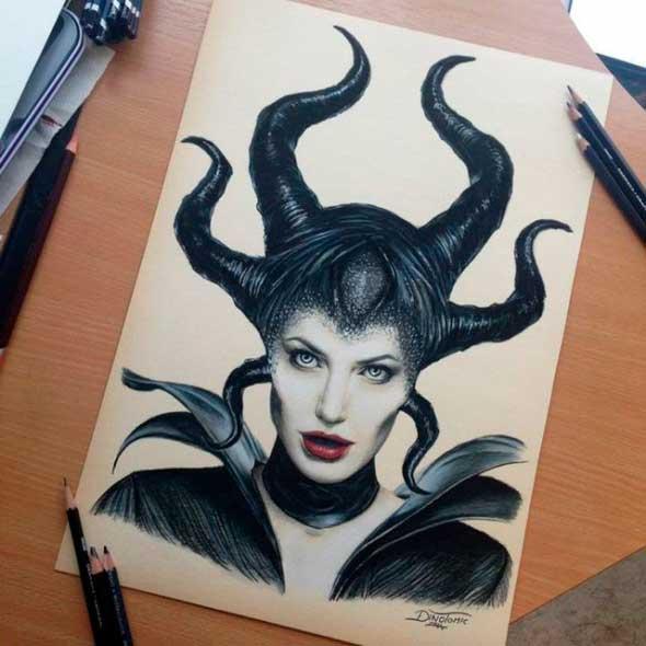 карандашные рисунки Дино Томича pencil drawings Dino Tomic Малифисента